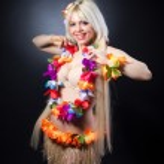 Blonde girl in hawaiian costume — Stock Photo #41738423