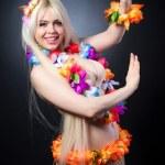 Blonde girl in hawaiian costume — Stock Photo #41738427