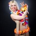 Blonde girl in hawaiian costume — Stock Photo #41738435