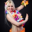 Blonde girl in hawaiian costume — Stock Photo #41738457