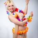 Portrait of lovely girl in hawaiian costume — Stock Photo #41738515