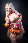 Smiling woman in hawaiian costume — Stock Photo