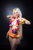 Blonde girl in hawaiian costume — Stock Photo