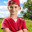 Boy Child Portrait Smiling Cute ten years old outdoor — Stock Photo