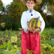 Smiling boy holding  big yellow pumpkin in hands — Stock Photo #42301849
