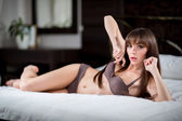 Glamour portrait - sexy beautiful woman in lingerie — Stock Photo