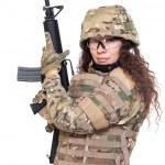 Beautiful army girl with rifle — Stock Photo #42685541