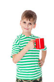 Boy holding a red cup — Stock Photo
