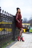 Portrait of a woman leaning against metal fence — Stok fotoğraf