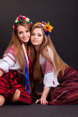 Young women in ukrainian clothes — Stock Photo