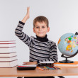 Cheerful Schoolboy ready to answer question — Stock Photo