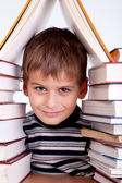 Schoolboy and a heap of books — Stockfoto