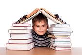 Scolaro e un mucchio di libri — Foto Stock
