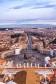 Saint Peter's Square in Vatican and aerial view of Rome — Stock Photo