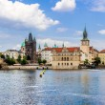 Karlov or charles bridge and river Vltava in Prague in summer — Stock Photo #44717807