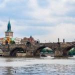Karlov or charles bridge and river Vltava in Prague in summer — Stock Photo #44717893
