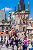 Karlov or charles bridge in Prague in summer — Stock Photo