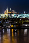 The View on Prague gothic Castle with Charles Bridge — Stock Photo