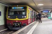 People at Potsdamer Platz subway station in Berlin, Germany — Stock Photo