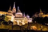 Fisherman's bastion night view, Budapest, Hungary — Stock Photo