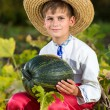 Smiling boy holding  big yellow pumpkin in hands — Stock Photo #48910695
