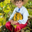 Smiling boy holding  big yellow pumpkin in hands — Stock Photo #48910839