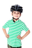 Boy bicyclist with helmet — Stock Photo