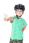 Boy bicyclist with helmet — Stockfoto