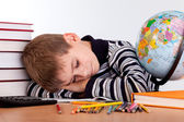 Tired schoolboy — Foto Stock