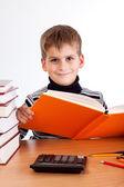 Lindo niño está leyendo un libro — Foto de Stock