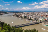Panoramic view of a building of the Hungarian parliament, Danube — Stock Photo