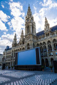 Tall gothic building of Vienna city hall — Stok fotoğraf