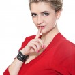 Woman gesturing silence — Stock Photo #5206262