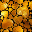 Seamlessly gold hearts pattern. — Stockfoto