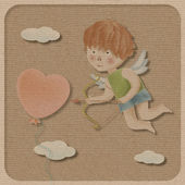 Cupid on paper background. — Foto Stock