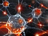 神经元的 3d 渲染插图。. — 图库照片