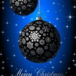 Merry Christmas card with silvery balls on blue background. — Stock Vector