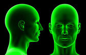 3D heads isolated on black background. — Stock Photo