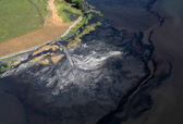Stream pollution. Aerial view. — Stock Photo