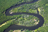 Zigzag river. Aerial view. — Stock Photo