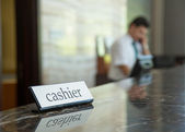Hotel cashier — Stock Photo