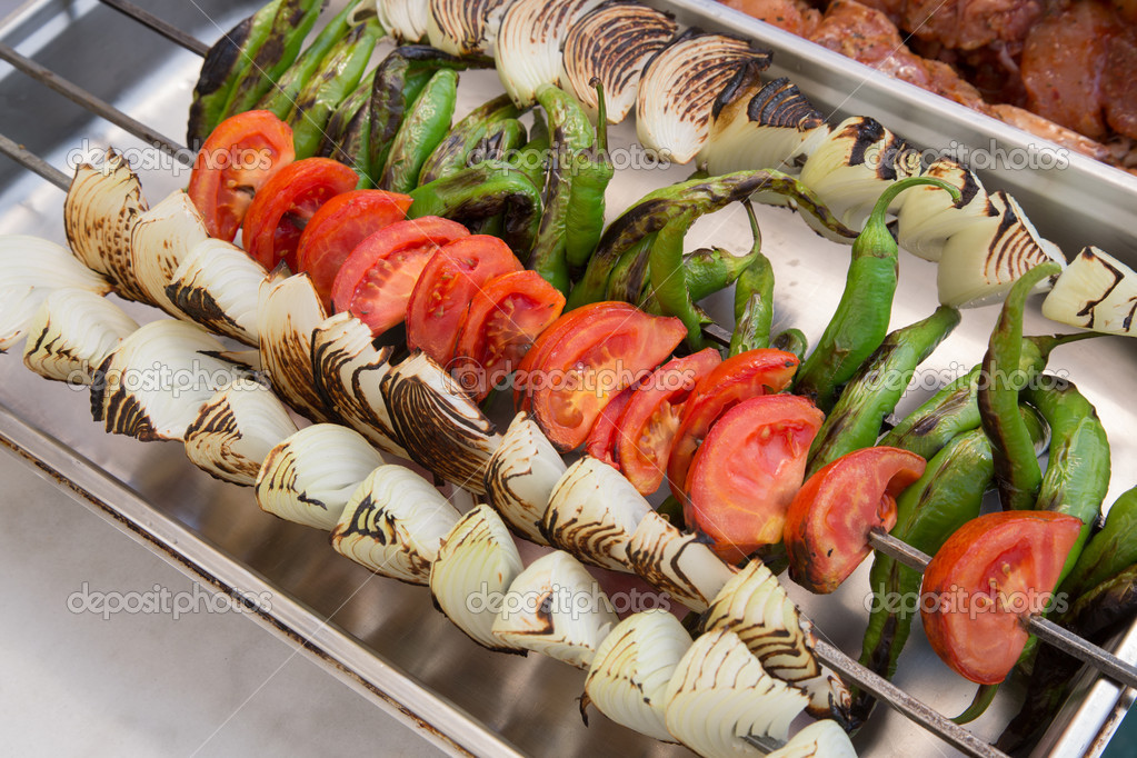 Grilled vegetables on a skewer — Stok fotoğraf #12853072