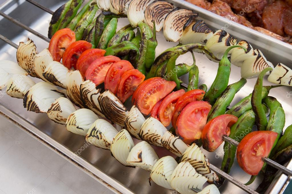 Grilled vegetables on a skewer — Foto de Stock   #12853072