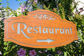 Outdoor restaurant pointer — Stock Photo