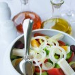 Version of greek salad (with eggs) — Stock Photo