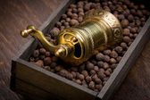 Metal pepper mill in wooden box with pepper — Stock Photo