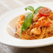 Pasta with shrimps and tomato sauce — ストック写真