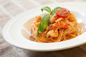Pasta with shrimps and tomato sauce — Stok fotoğraf