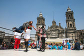 Mexican lucha libre on a Zocalo in Mexico City — Stok fotoğraf