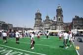 Rugby players on Zocalo in Mexico City — Stok fotoğraf